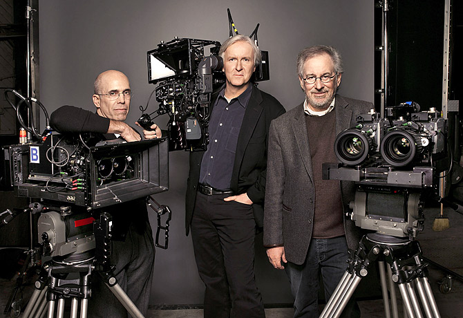 Jeffrey Katzenberg, James Cameron, and Steven Spielberg